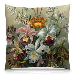 """Подушка 40х40 с полной запечаткой """"Орхидеи (Orchideae, Ernst Haeckel)"""" - картина, орхидея, эрнст геккель, 14фев, 8мар"""
