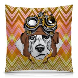 """Подушка 40х40 с полной запечаткой """"Пес летчик"""" - животные, пес, щенок, собака, летчик"""