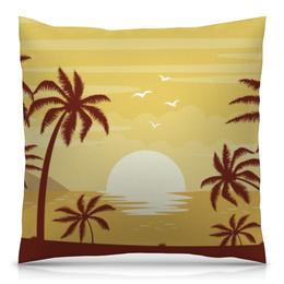 """Подушка 40х40 с полной запечаткой """"Закат"""" - лето, солнце, море, пляж, пальмы"""
