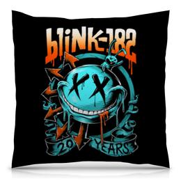 "Подушка 40х40 с полной запечаткой ""Blink-182"" - punk, панк, blink 182, blink182, блинк 182"