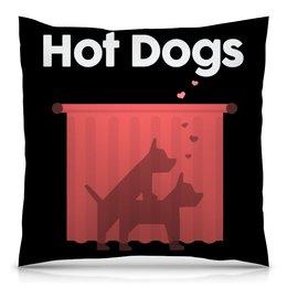 """Подушка 40х40 с полной запечаткой """"Горячие собачки"""" - секс, sex, dog, собака, животное"""