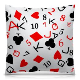 """Подушка 40х40 с полной запечаткой """"Все по масти"""" - карты, игра, покер, масти карт, бубна черви пик крести"""