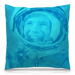 """Подушка 40х40 с полной запечаткой """"Юрий Гагарин"""" - космос, полет, летчик, первый, космонавт"""