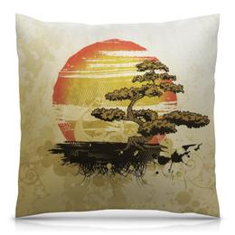 """Подушка 40х40 с полной запечаткой """"Японский закат"""" - солнце, закат, дерево, япония, бонсай"""