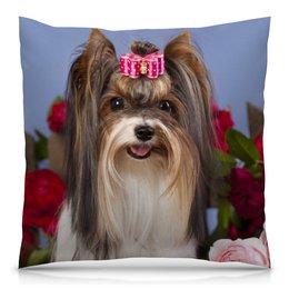 """Подушка 40х40 с полной запечаткой """"Собака"""" - собака, фотография, животное"""