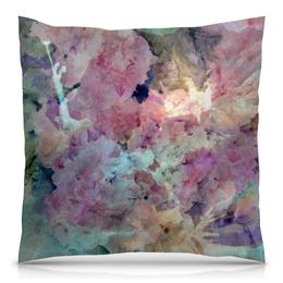 """Подушка 40х40 с полной запечаткой """"Солнце,вода,цветы. Абстракция"""" - розовый, оригинальный, паттерн, нежный, картина акварелью"""