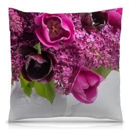 """Подушка 40х40 с полной запечаткой """"Сирень"""" - цветы, тюльпаны, букет, ваза, сирень"""