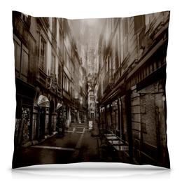 """Подушка 40х40 с полной запечаткой """"Улица города"""" - город, здания, улица, коричневый, старинный"""