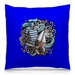 """Подушка 40х40 с полной запечаткой """"Моряк"""" - море, волны, корабль, моряк, тельняшка"""
