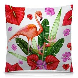 """Подушка 40х40 с полной запечаткой """"Птицы и цветы"""" - лето, цветы, птицы, природа, фламинго"""