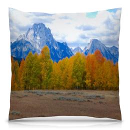 """Подушка 40х40 с полной запечаткой """"Деревья в горах"""" - осень, лес, природа, горы, пейзаж"""