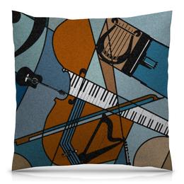 """Подушка 40х40 с полной запечаткой """"музыкальная абстракция"""" - музыка, скрипка, пианино, абстрактные"""