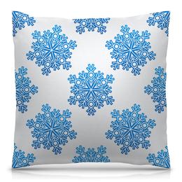 """Подушка 40х40 с полной запечаткой """"Голубые снежинки"""" - новый год, узор, голубой, снег, снежинки"""