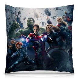 "Подушка 40х40 с полной запечаткой ""Мстители (Avengers)"" - hulk, iron man, captain america, thor, black widow"