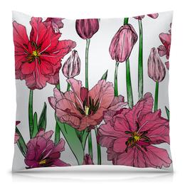 """Подушка 40х40 с полной запечаткой """"Маки в цвету"""" - цветы, узор, весна, природа, цветочки"""