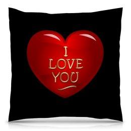 "Подушка 40х40 с полной запечаткой ""Без названия"" - сердце, любовь, сердечки, i love you, я люблю тебя"