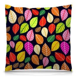"""Подушка 40х40 с полной запечаткой """"Листва"""" - листья, осень, природа, листва, листы"""