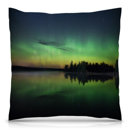 """Подушка 40х40 с полной запечаткой """"Сумерки"""" - деревья, природа, пейзаж, озеро, вечер"""