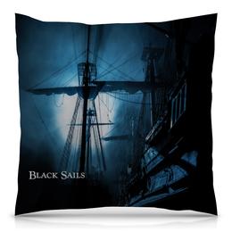 """Подушка 40х40 с полной запечаткой """"Черные паруса / Black Sails"""" - рисунок, кино, сериал, черные паруса"""