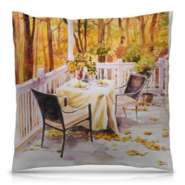 """Подушка 40х40 с полной запечаткой """"Свидание с осенью"""" - листья, осень, свидание, ужин, картина осени"""