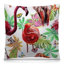 "Подушка 40х40 с полной запечаткой ""Птица"" - лето, птицы, природа, тропики, фламинго"