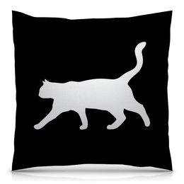 """Подушка 40х40 с полной запечаткой """"Силуэт белой кошки."""" - кот, кошка, силуэт, животное, любимец"""