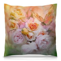 """Подушка 40х40 с полной запечаткой """"Пионы"""" - бабочки, цветы, пионы, розы, букет"""