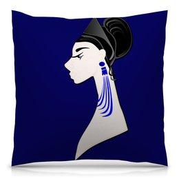 """Подушка 40х40 с полной запечаткой """"Девушка в синих сережках"""" - очки, брюнетка, перья, красивая женщина, синие длинные серьги"""