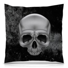 """Подушка 40х40 с полной запечаткой """"Череп"""" - череп, скелет, кости, космос, черно-белые"""