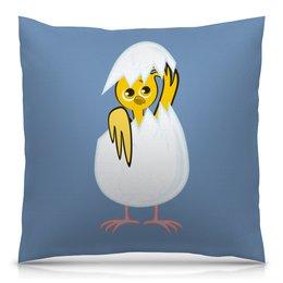 """Подушка 40х40 с полной запечаткой """"желтый новорожденный цыпленок"""" - животные, птицы, день рождения, иллюстрация, новая жизнь"""