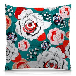 """Подушка 40х40 с полной запечаткой """"Fashion Flower"""" - цветы, flower, природа, красные, розы"""