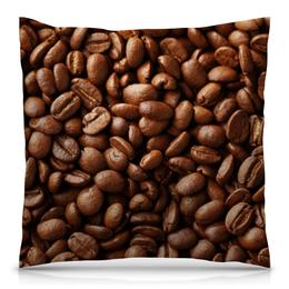 """Подушка 40х40 с полной запечаткой """"Кофейные зерна"""" - еда, кофе"""
