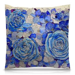 """Подушка 40х40 с полной запечаткой """"Роза Blue"""" - цветы, рисунок, графика, розы"""