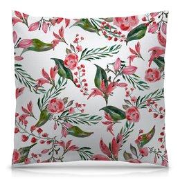 """Подушка 40х40 с полной запечаткой """"Цветы на белом"""" - цветы, роза, листья, природа, пион"""