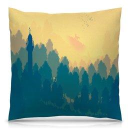 """Подушка 40х40 с полной запечаткой """"Природа леса"""" - животные, лес, деревья, природа, пейзаж"""