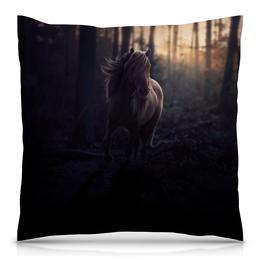 """Подушка 40х40 с полной запечаткой """"Белая лошадь"""" - арт, лошадь"""