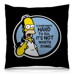 """Подушка 40х40 с полной запечаткой """"Мудрость Гомера Симпсона"""" - симпспоны"""