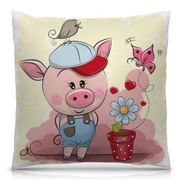 """Подушка 40х40 с полной запечаткой """"Поросёнок"""" - свин, новый год, свинья, год свиньи, 2019"""