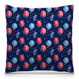 """Подушка 40х40 с полной запечаткой """"Воздушные шарики"""" - шарики, праздник, подарки, воздушные шары, синий"""