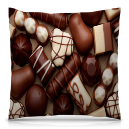 """Подушка 40х40 с полной запечаткой """"Шоколад"""" - конфеты, шоколад, сладости, еда, коричневый"""