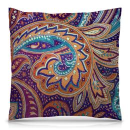 """Подушка 40х40 с полной запечаткой """"Summer paisley"""" - узор, оранжевый, фиолетовый, орнамент, пейсли"""