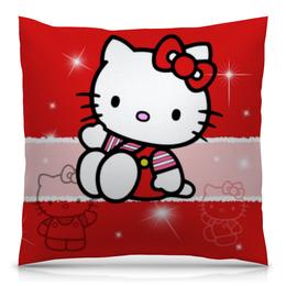 "Подушка 40х40 с полной запечаткой ""Hello Kitty с искрами"" - hello kitty, мультфильм, для детей, кошечка, искры"