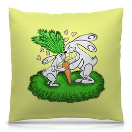 """Подушка 40х40 с полной запечаткой """"Зайчишки с морковкой"""" - любовь, подарок, морковка, влюбленность, зайчишки"""