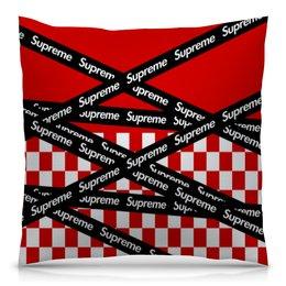 "Подушка 40х40 с полной запечаткой ""Supreme"" - надписи, бренд, brand, supreme, суприм"