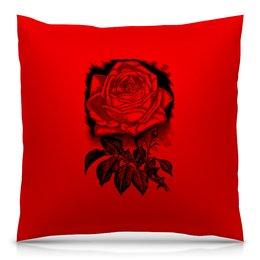 """Подушка 40х40 с полной запечаткой """" Цветок"""" - цветы, роза, розы, букет, шипы"""