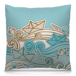 """Подушка 40х40 с полной запечаткой """"Морская"""" - море, рисунок, волны, ракушка, морской"""