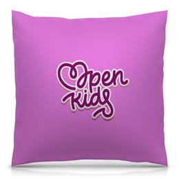 """Подушка 40х40 с полной запечаткой """"Опен Кидс / Open kids """" - музыка, рисунок, попса"""