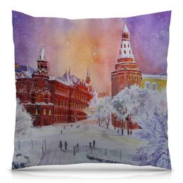 """Подушка 40х40 с полной запечаткой """"Новогодняя Москва"""" - новый год, москва, снег, красная площадь, рождестово"""