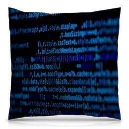 """Подушка 40х40 с полной запечаткой """"Программа"""" - компьютеры, код, программа, пароль, кодировка"""