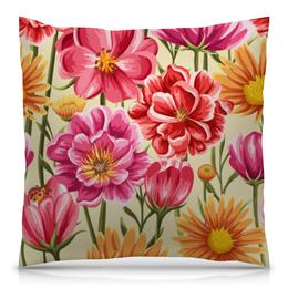 """Подушка 40х40 с полной запечаткой """"Садовые цветы"""" - красиво, цветы, ярко, природа, садовые цветы"""